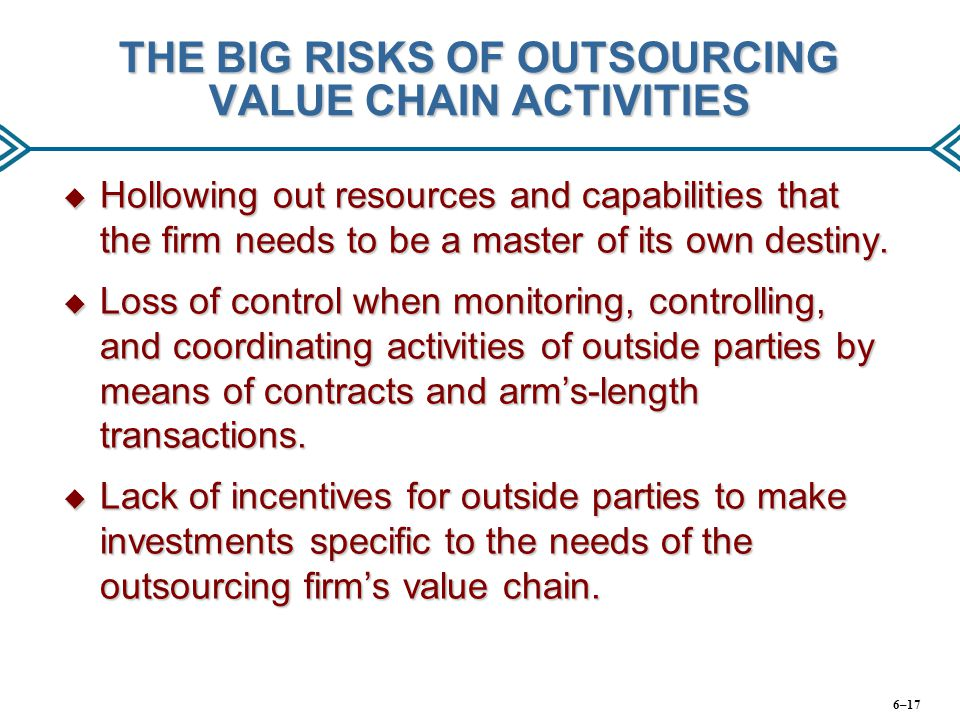 THE BIG RISKS OF OUTSOURCING VALUE CHAIN ACTIVITIES