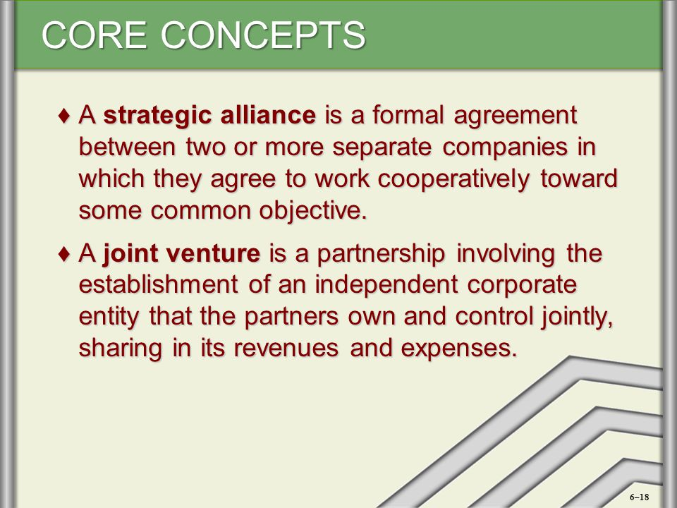 A strategic alliance is a formal agreement between two or more separate companies in which they agree to work cooperatively toward some common objective.