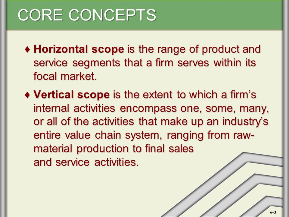 Horizontal scope is the range of product and service segments that a firm serves within its focal market.