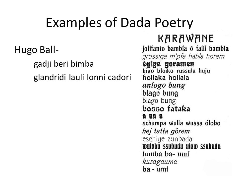 Examples of Dada Poetry