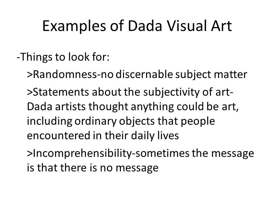 Examples of Dada Visual Art