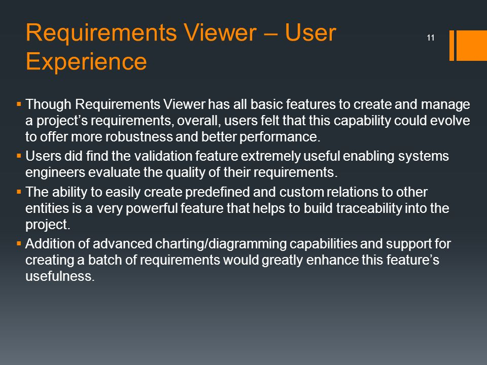 Requirements Viewer – User Experience