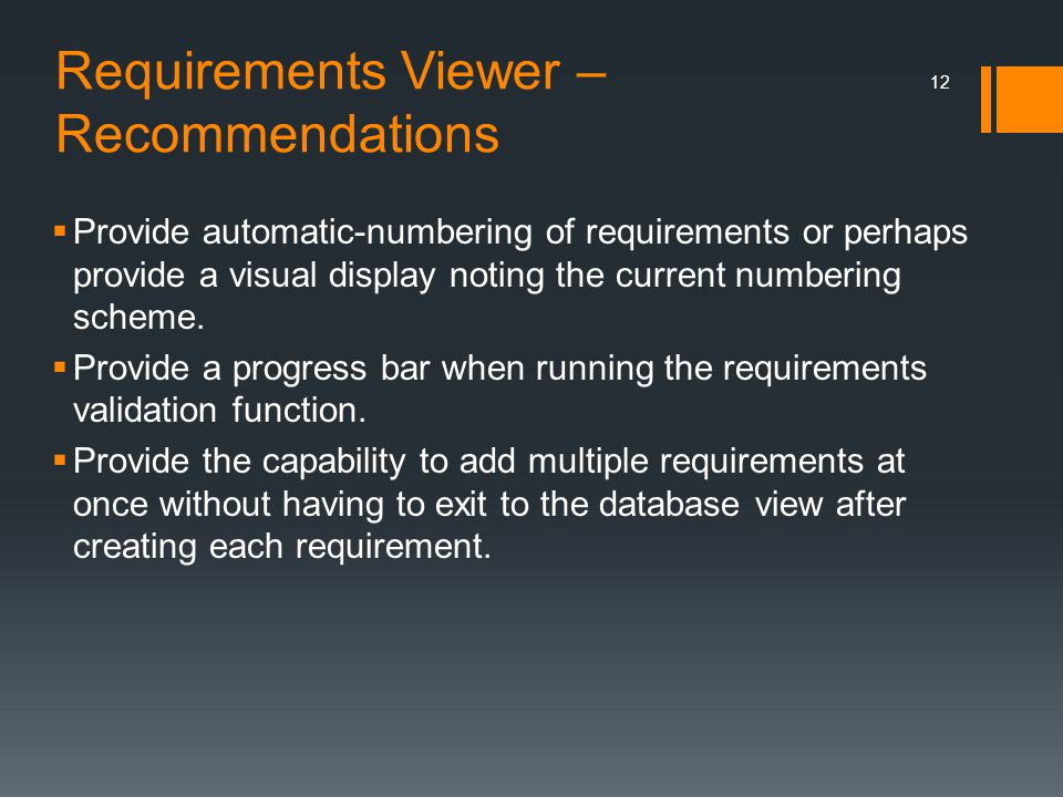 Requirements Viewer – Recommendations