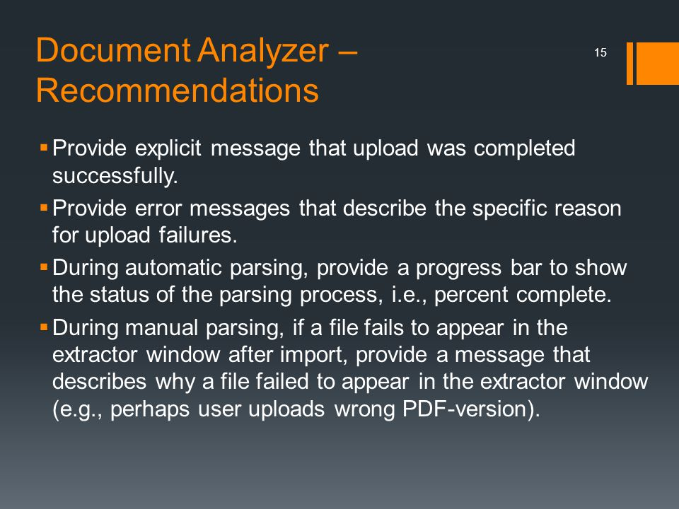 Document Analyzer – Recommendations