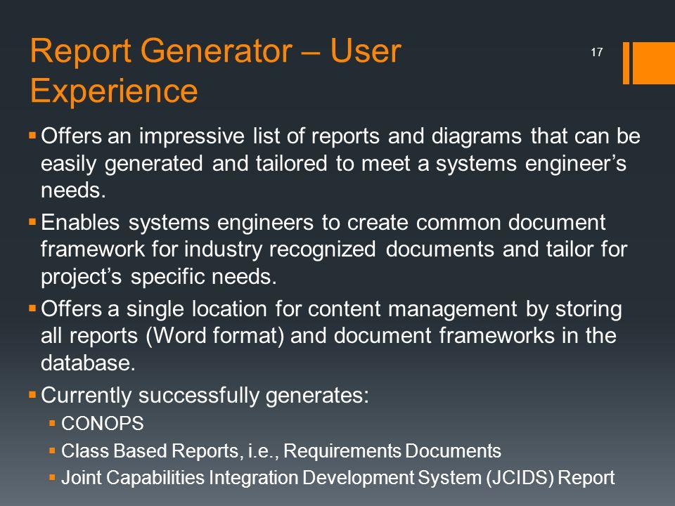 Report Generator – User Experience