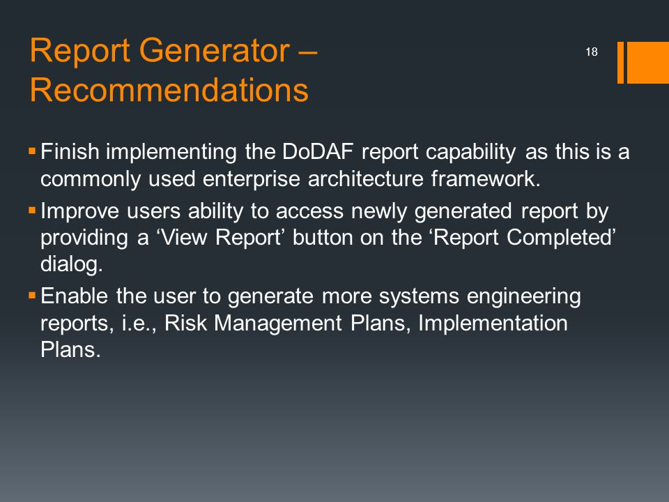 Report Generator – Recommendations