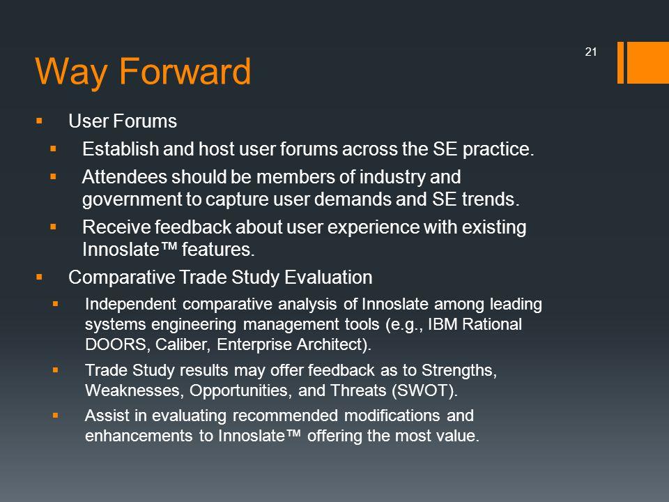 Way Forward User Forums