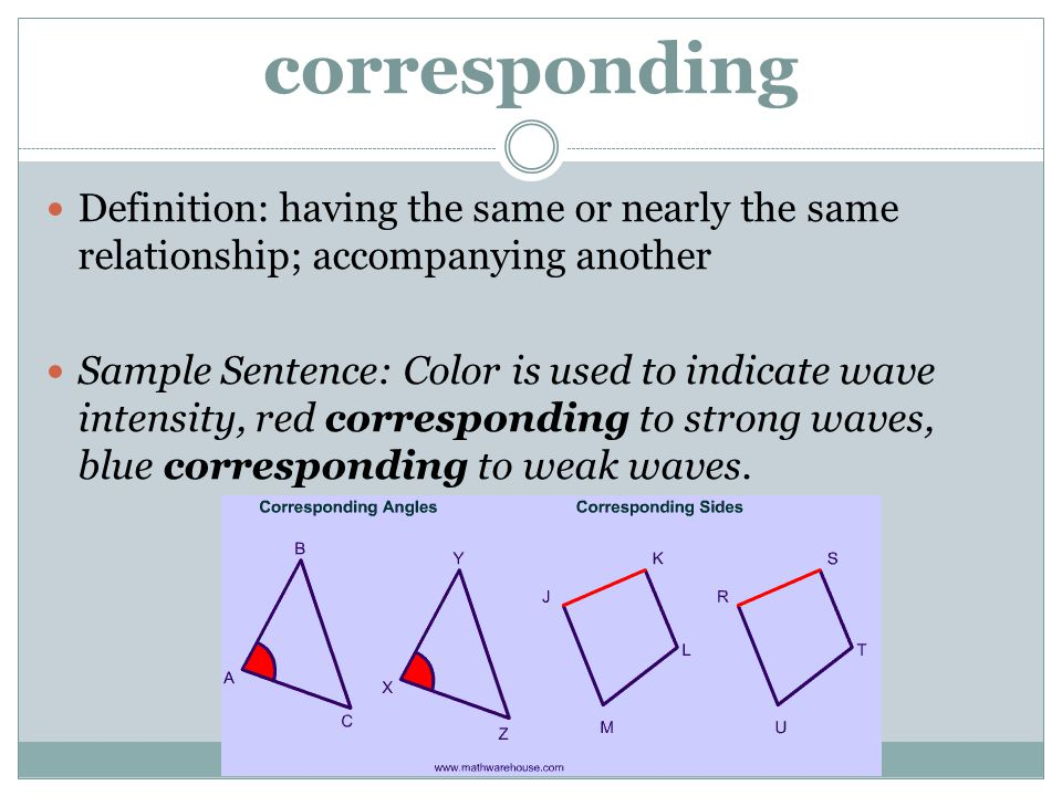 corresponding Definition: having the same or nearly the same relationship; accompanying another.