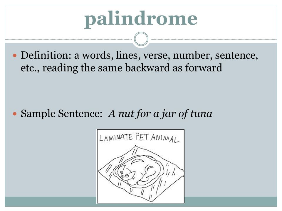 palindrome Definition: a words, lines, verse, number, sentence, etc., reading the same backward as forward.