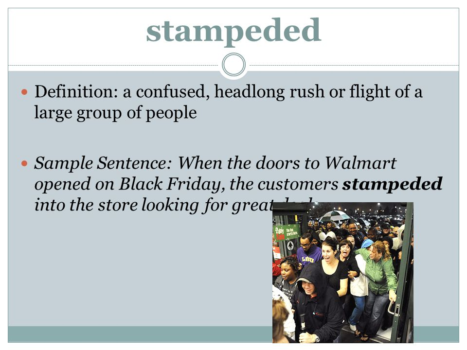 stampeded Definition: a confused, headlong rush or flight of a large group of people.