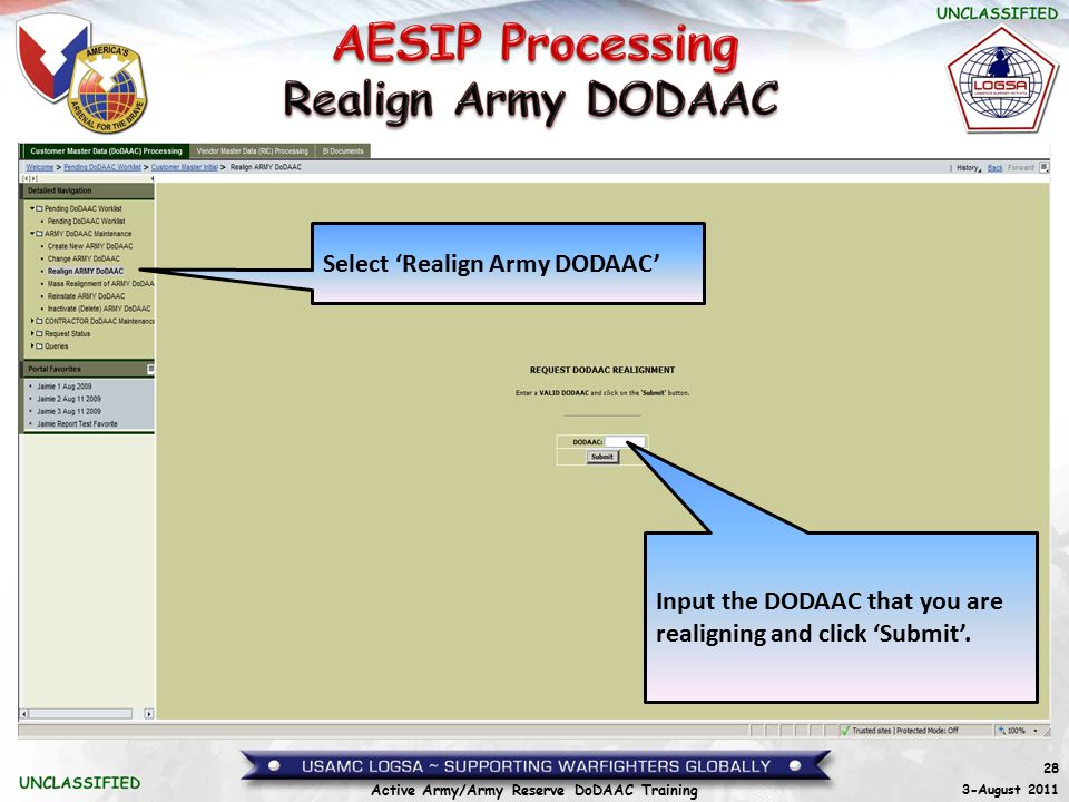 Realign Army DODAAC Select 'Realign Army DODAAC'