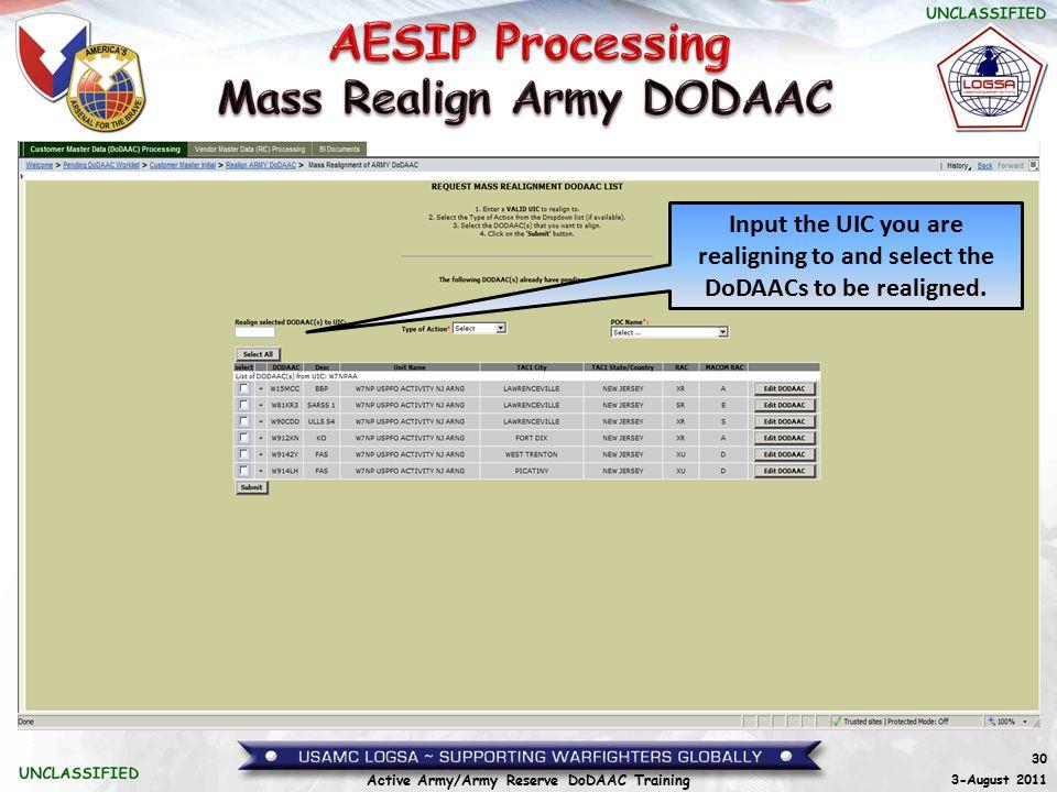 Mass Realign Army DODAAC