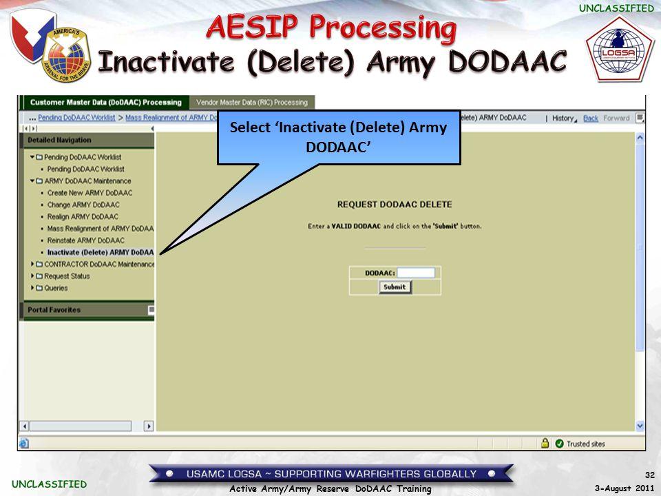 Inactivate (Delete) Army DODAAC