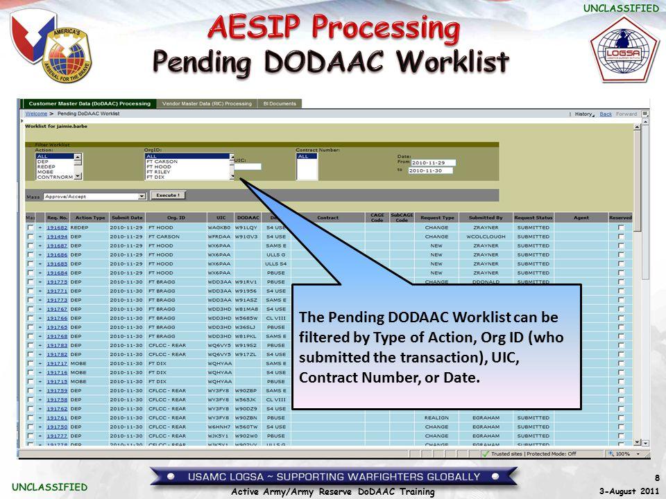 Pending DODAAC Worklist