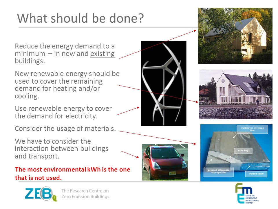 What should be done Reduce the energy demand to a