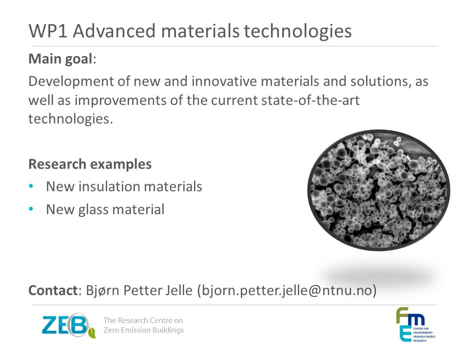 WP1 Advanced materials technologies