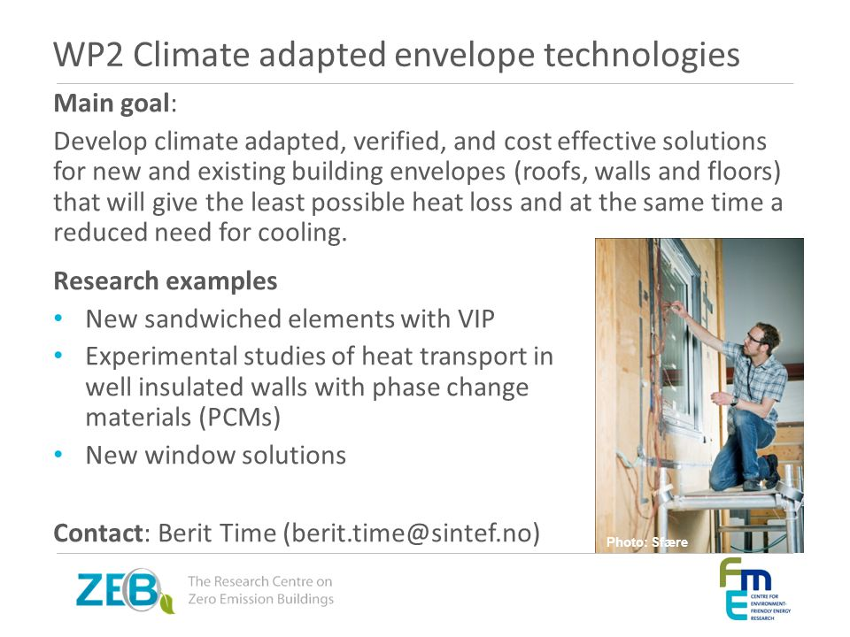 WP2 Climate adapted envelope technologies