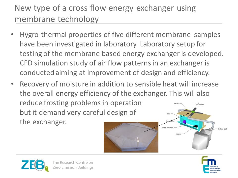 New type of a cross flow energy exchanger using membrane technology