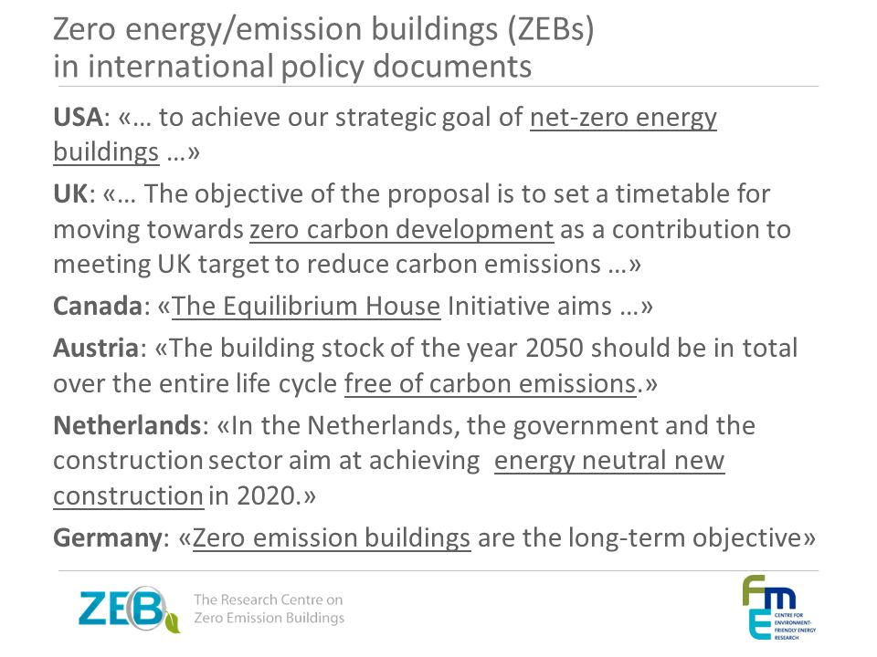 Zero energy/emission buildings (ZEBs) in international policy documents