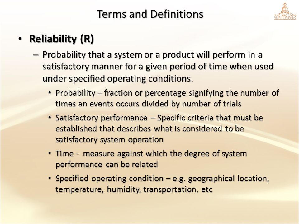 Terms and Definitions Reliability (R)