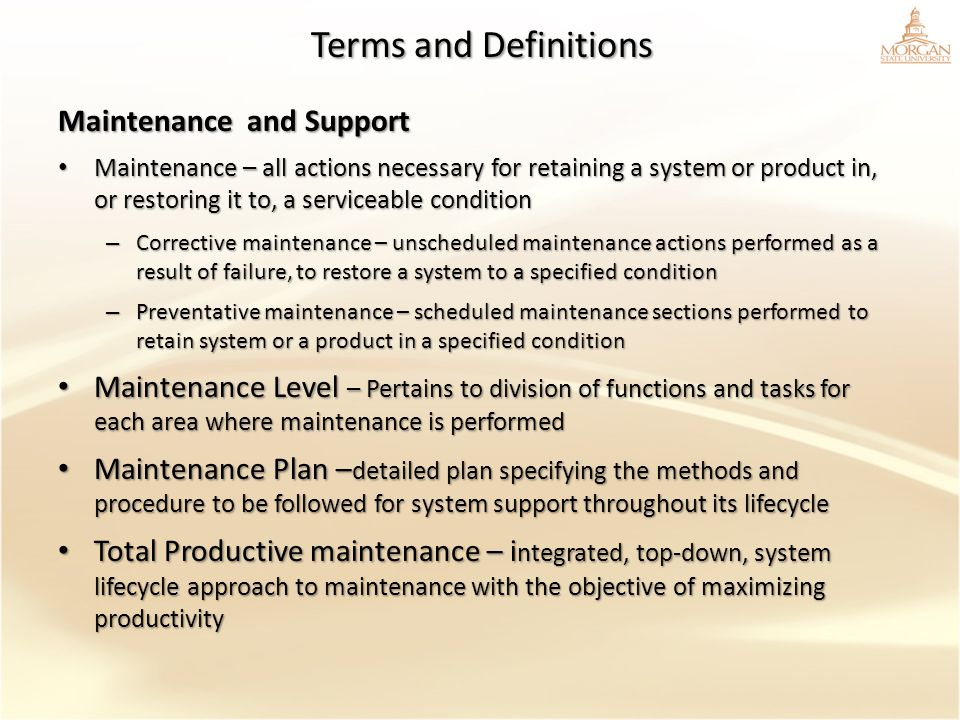 Terms and Definitions Maintenance and Support