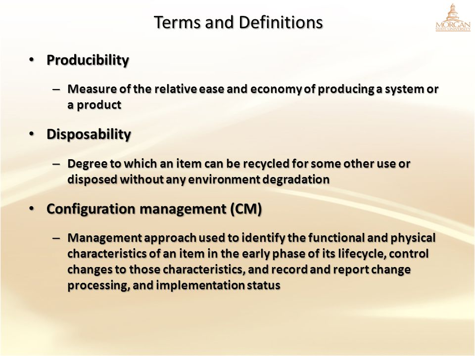 Terms and Definitions Producibility Disposability
