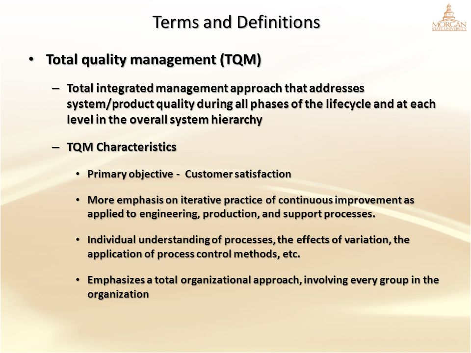 Terms and Definitions Total quality management (TQM)