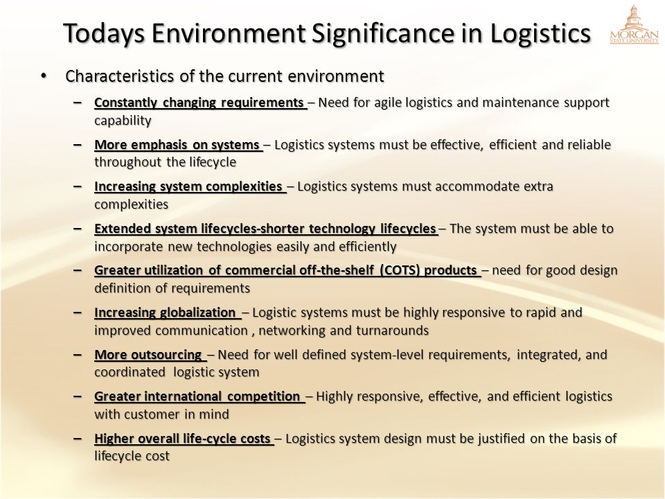 Todays Environment Significance in Logistics