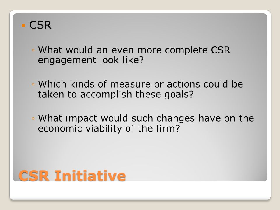 CSR What would an even more complete CSR engagement look like Which kinds of measure or actions could be taken to accomplish these goals