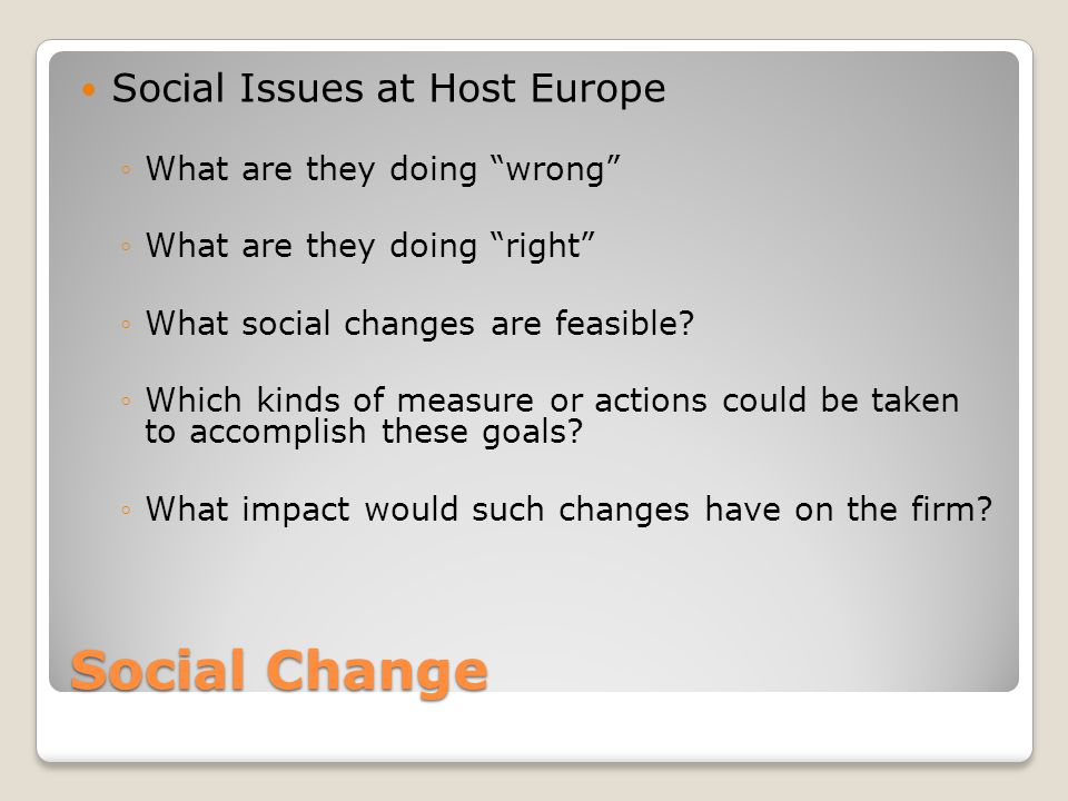 Social Change Social Issues at Host Europe What are they doing wrong
