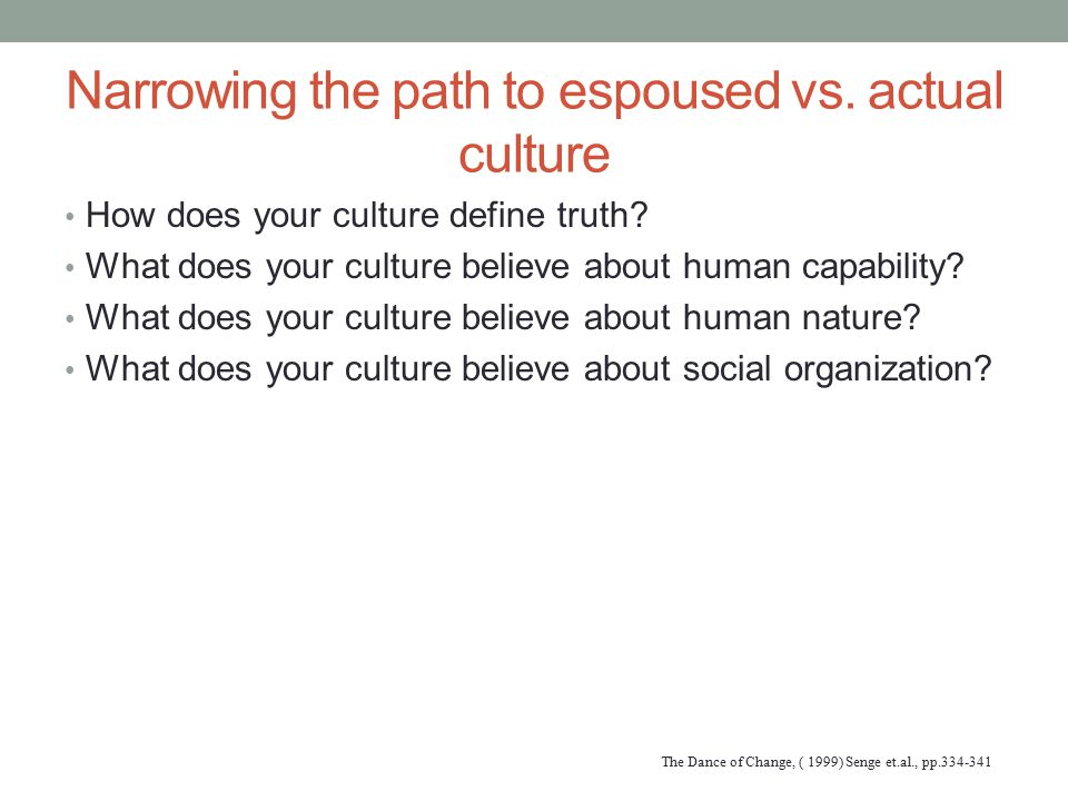 Narrowing the path to espoused vs. actual culture