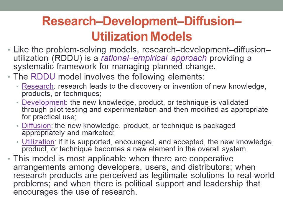 Research–Development–Diffusion– Utilization Models