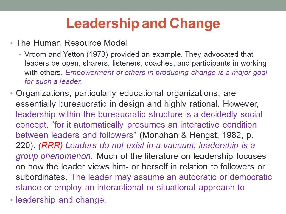 Leadership and Change The Human Resource Model