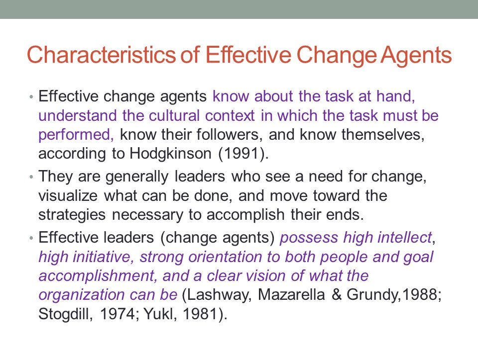 Characteristics of Effective Change Agents