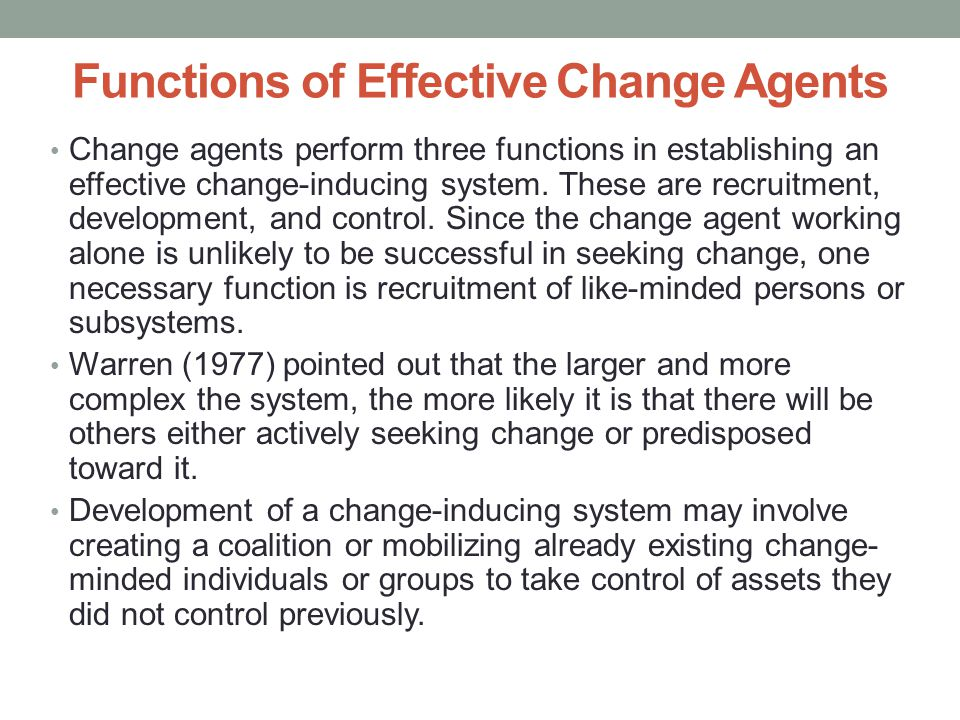 Functions of Effective Change Agents