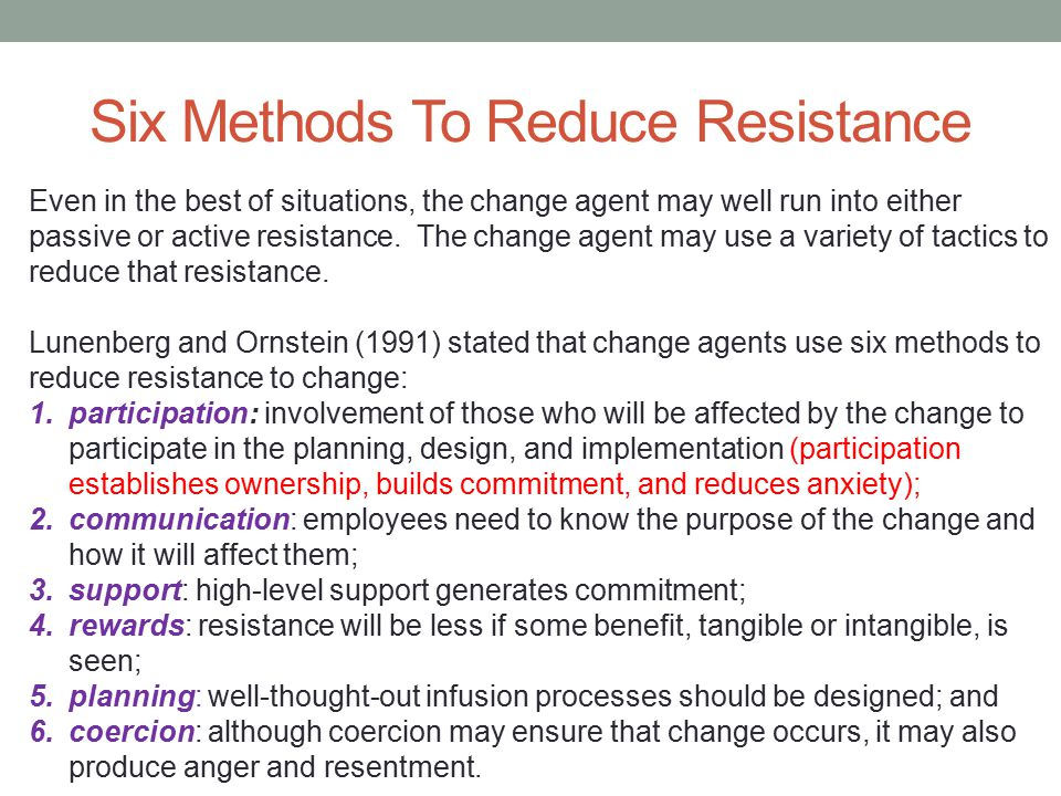 Six Methods To Reduce Resistance