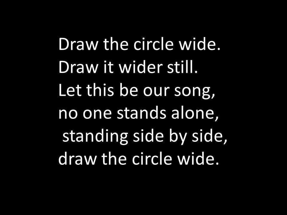 Draw the circle wide. Draw it wider still