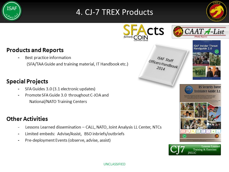 4. CJ-7 TREX Products Products and Reports Special Projects