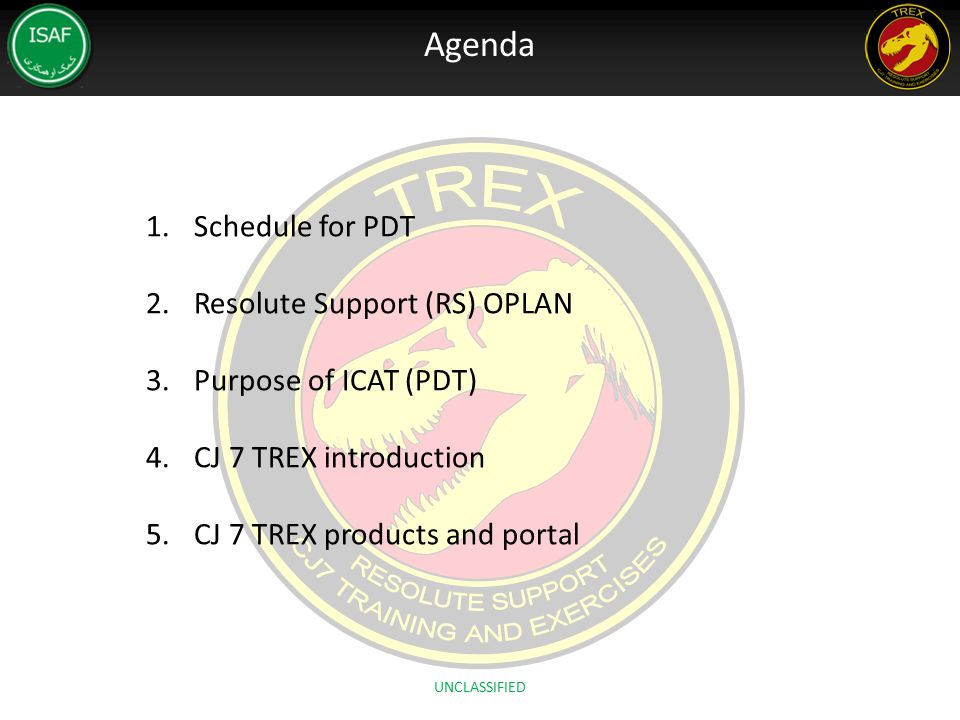 Agenda Schedule for PDT Resolute Support (RS) OPLAN