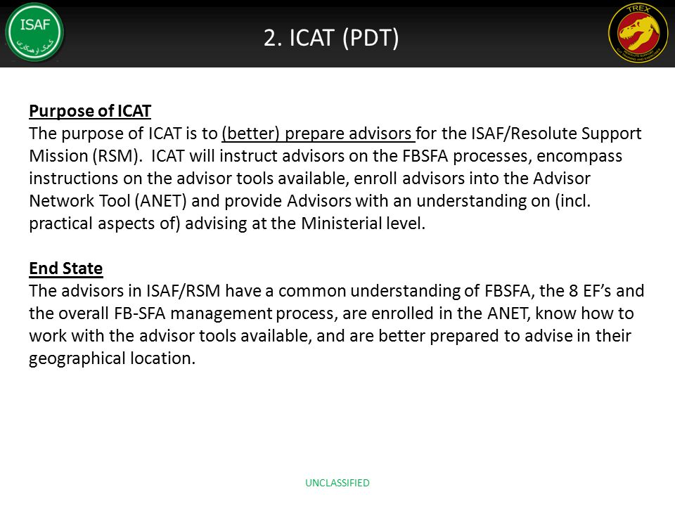 2. ICAT (PDT) Purpose of ICAT