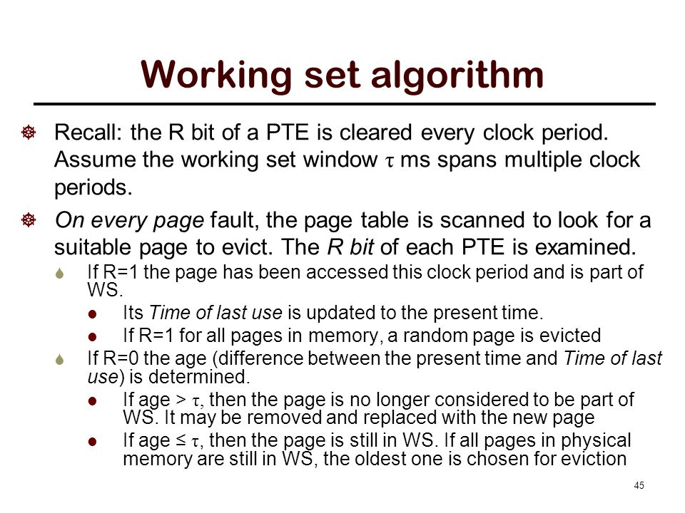 Working set algorithm example