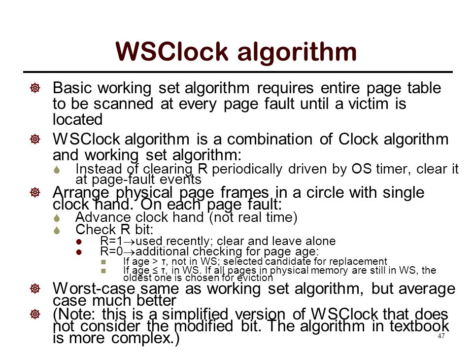 Operations of the WSClock algorithm.