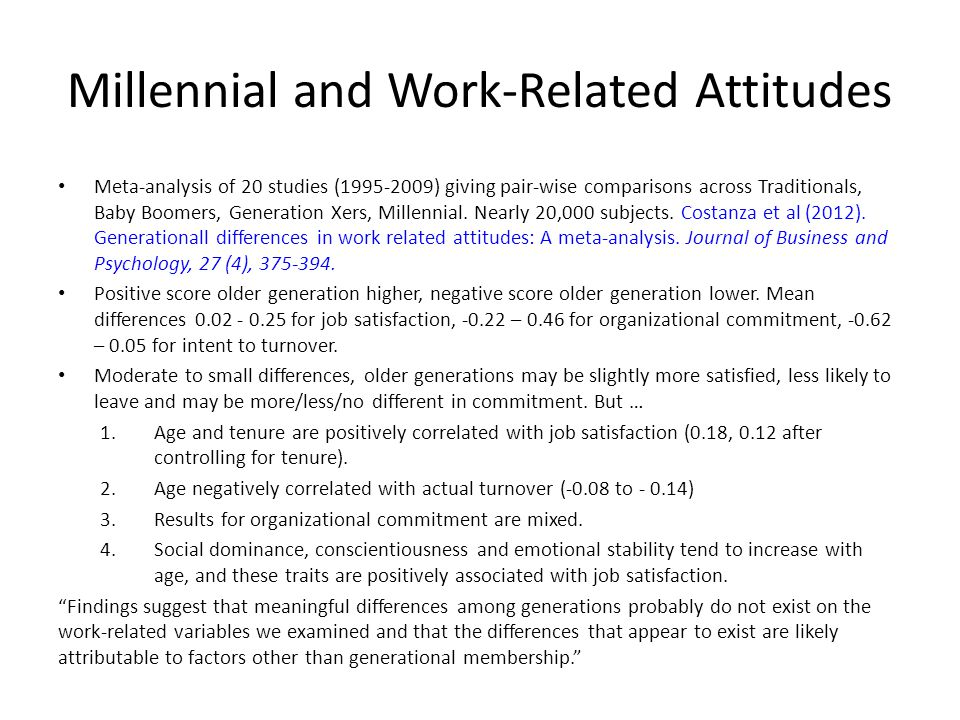 Millennial and Work-Related Attitudes