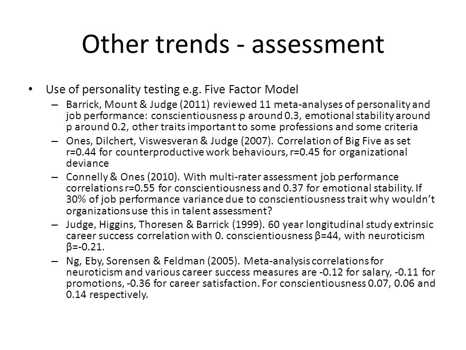 Other trends - assessment