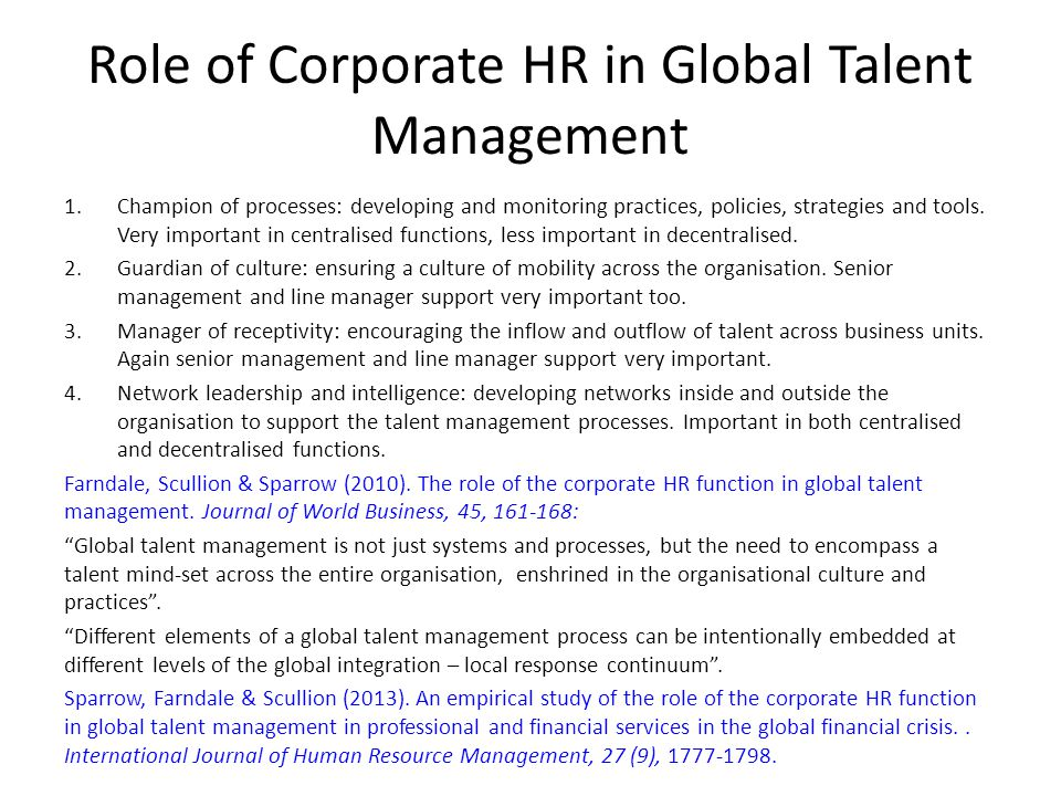 Role of Corporate HR in Global Talent Management