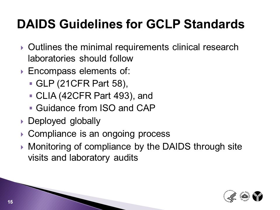 DAIDS Guidelines for GCLP Standards