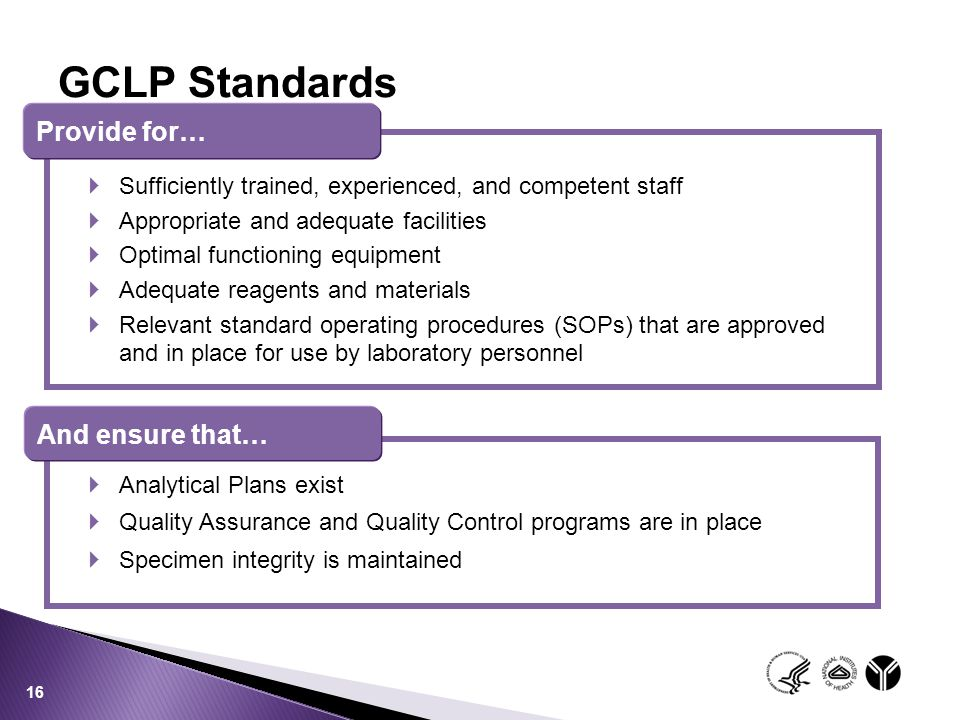 GCLP Standards Provide for… And ensure that…