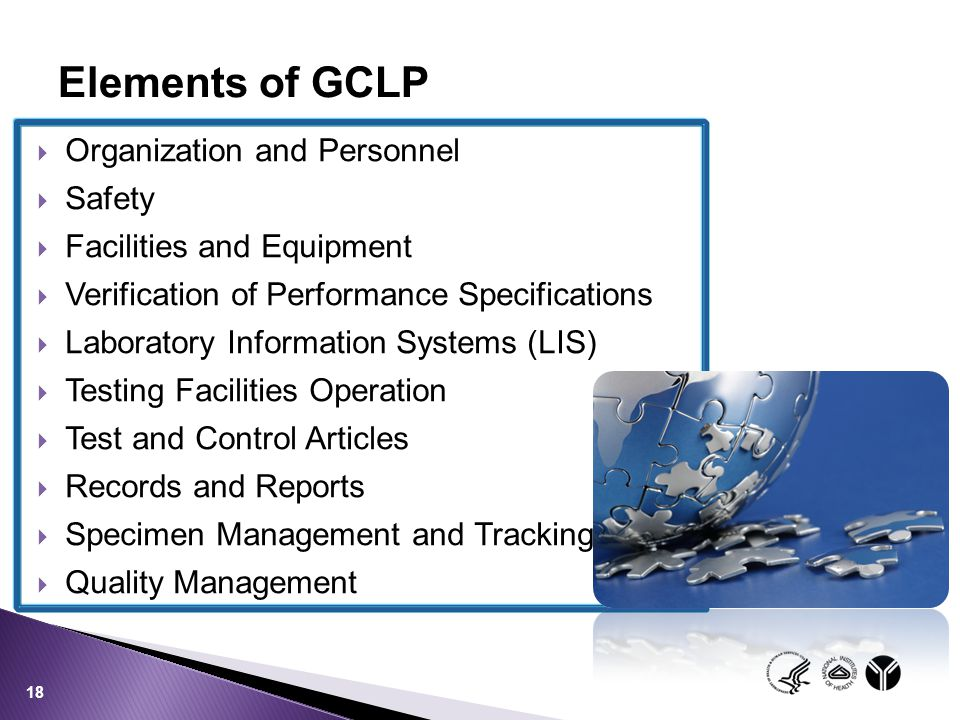 Elements of GCLP Organization and Personnel Safety