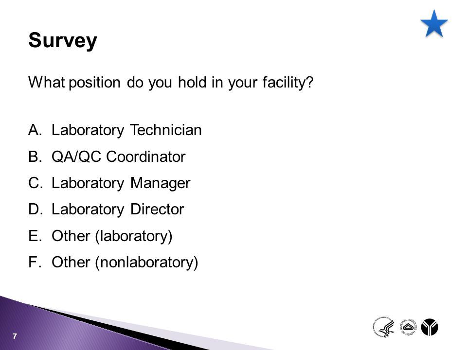 Survey What position do you hold in your facility