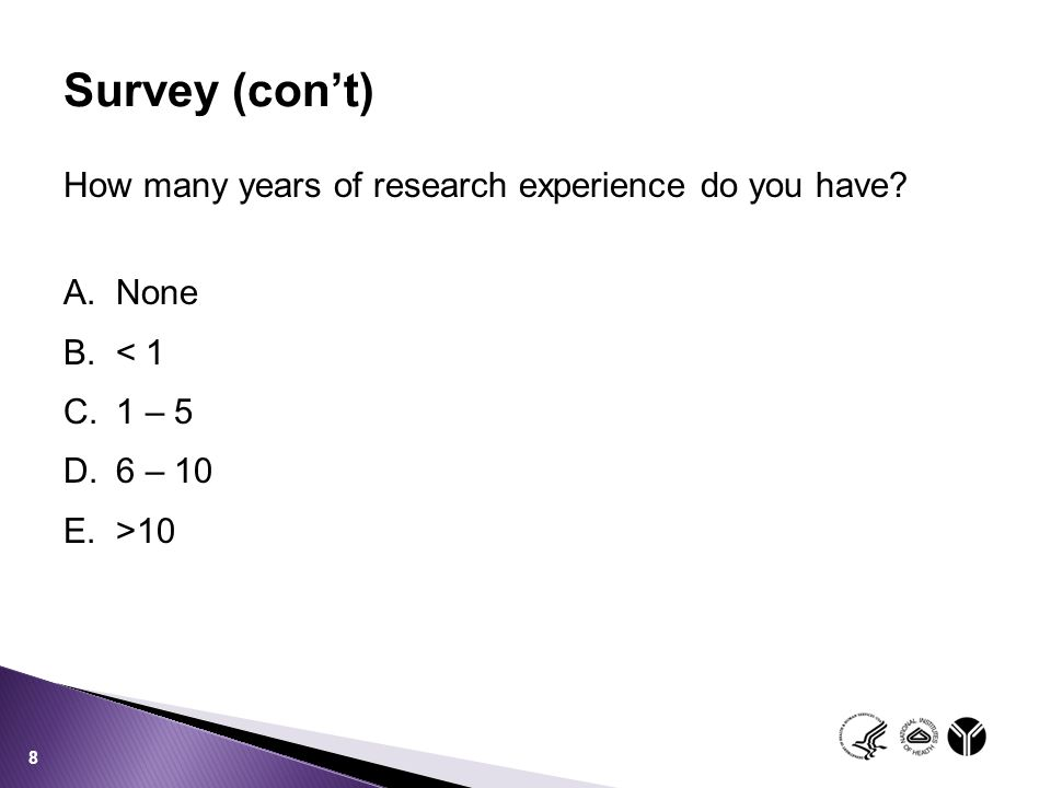 Survey (con't) How many years of research experience do you have None